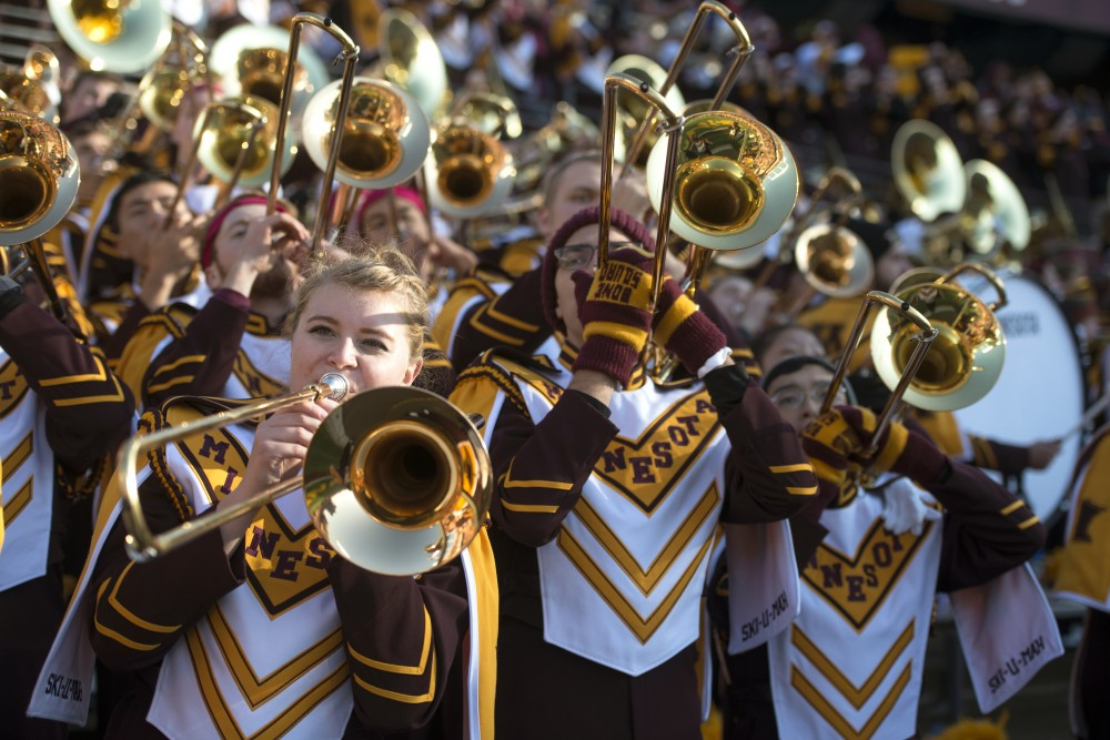 The University of Minnesota marching band plays during a football game at TCF Bank Stadium on Saturday, Nov. 11, 2017. The marching band played at the Super Bowl LII halftime show at U.S. Bank Stadium on Sunday.