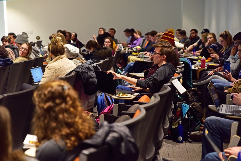 Audience members during a MSA forum on Tuesday, Feb. 6.