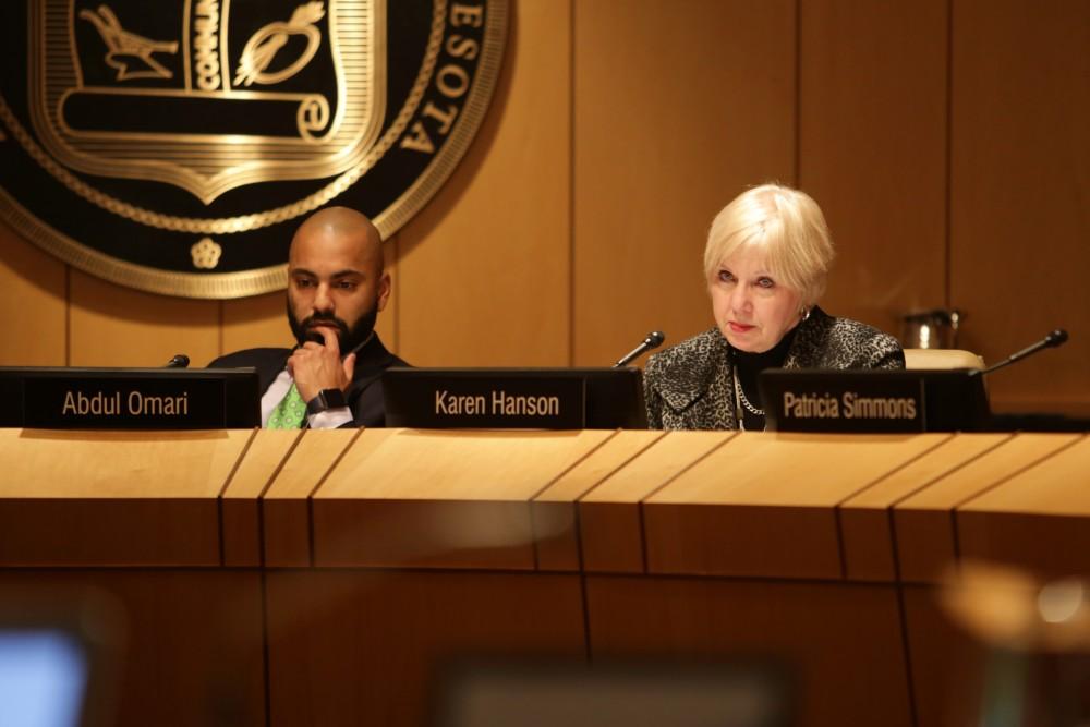 Provost Karen Hanson listens during a Board of Regents meeting at McNamara Alumni Center on Thursday, Feb. 8.