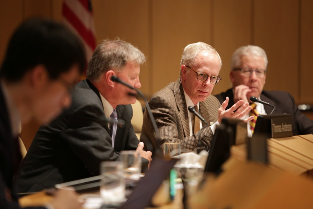 Regent David McMillan speaks during a University of Minnesota Board of Regents meeting on Thursday, Feb. 8, at McNamara Alumni Center.