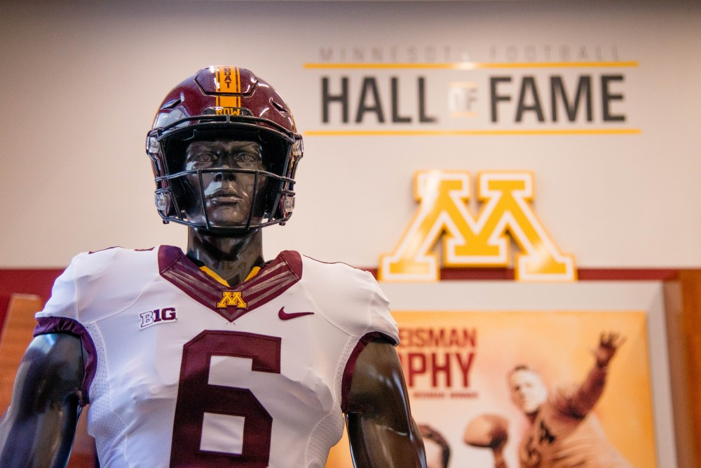 The statue of a football player stands in the Athletes Village Minnesota Football Hall of Fame on Saturday, Feb. 10.