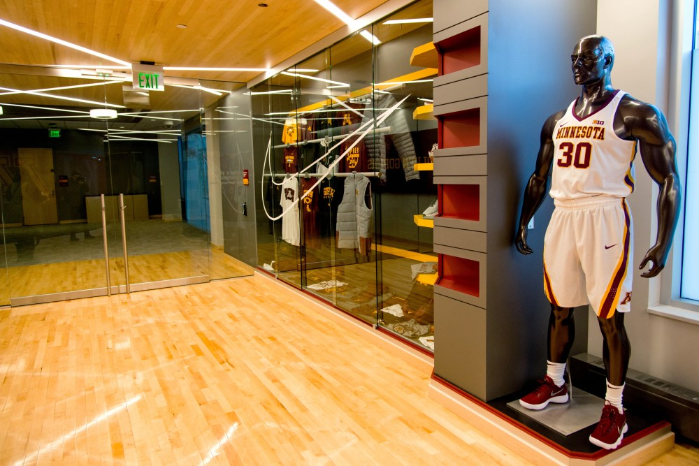 The entrance of the men's basketball lounge and lockerroom  as seen during a tour on Saturday, Feb. 10.