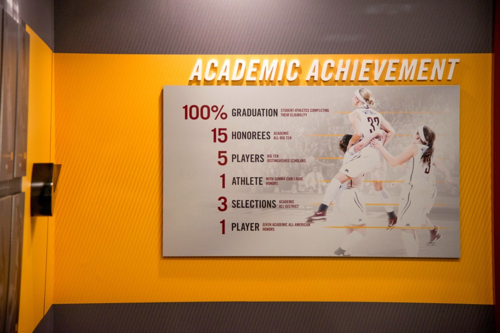 A sign in the recruitment lounge detailing the academic achievement of women's basketball players at the University of Minnesota as seen on a tour Saturday, Feb. 10.