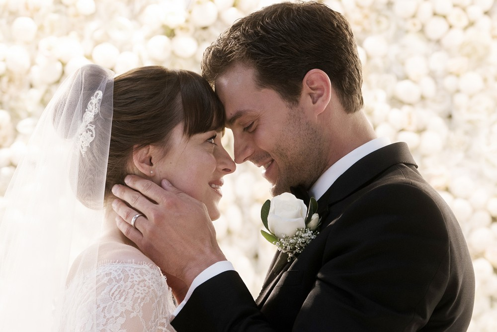 Dakota Johnson and Jamie Dornan in Fifty Shades Freed.