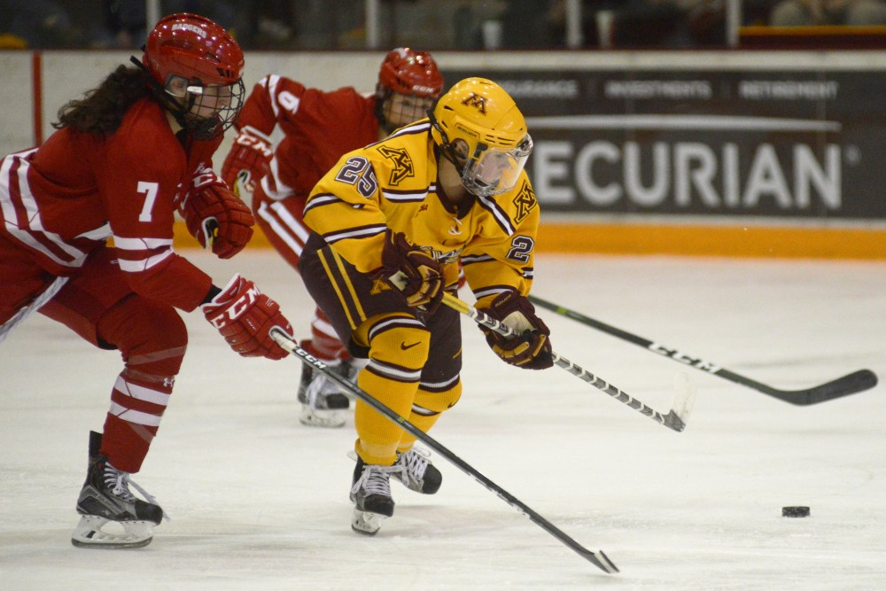Forward Nicole Schammel goes after the puck during the Gophers' game against Wisconsin at Ridder Arena in Minneapolis on Saturday, Feb. 18, 2017.