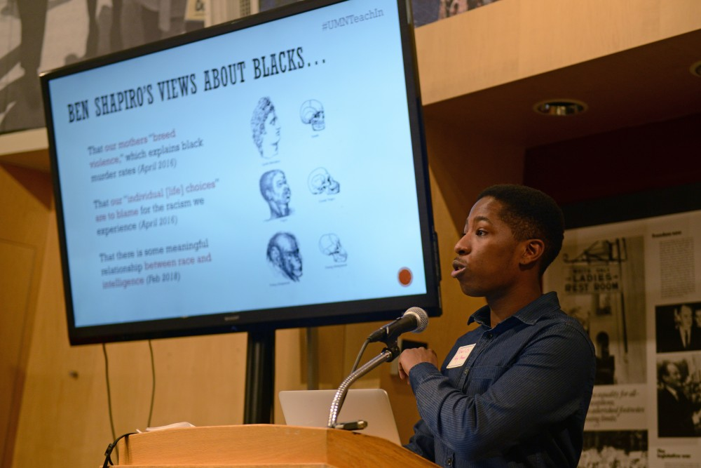 University graduate student Noel Gordon Jr. speaks at the White Supremacy in the Age of Trump Anti-Racist Teach In at the Humphrey Forum on Monday, Feb. 26.