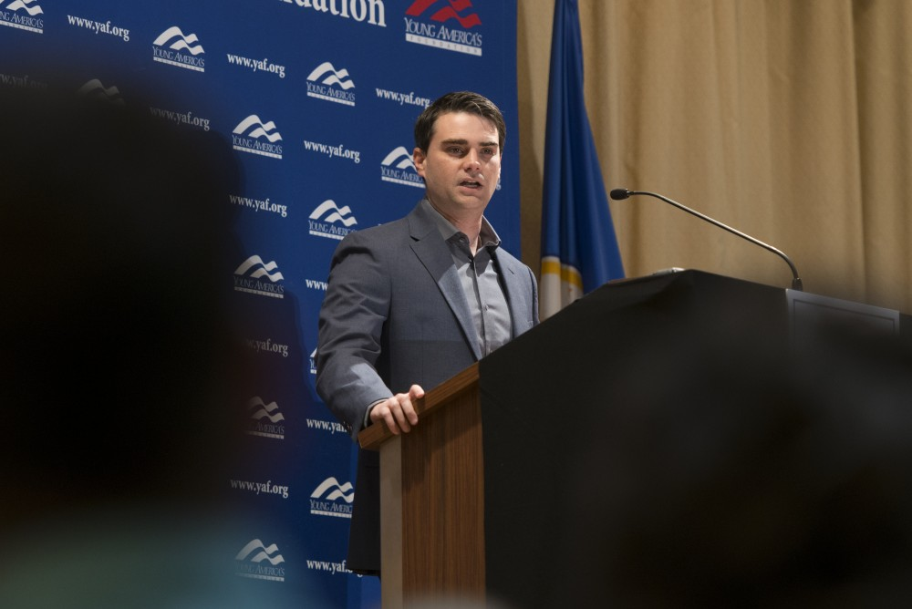 Conservative commentator Ben Shapiro speaks in the Northstar Ballroom of the St. Paul Student Center on Monday, Feb. 26. The speech drew a crowd of dozens of protestors in opposition to Shapiro's presence on campus.