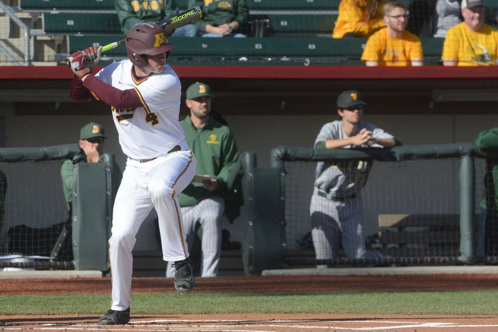 Catcher/infielder Eli Wilson readies to hit the ball during a game against North Dakota State University at Siebert Field on Apr. 4, 2017.