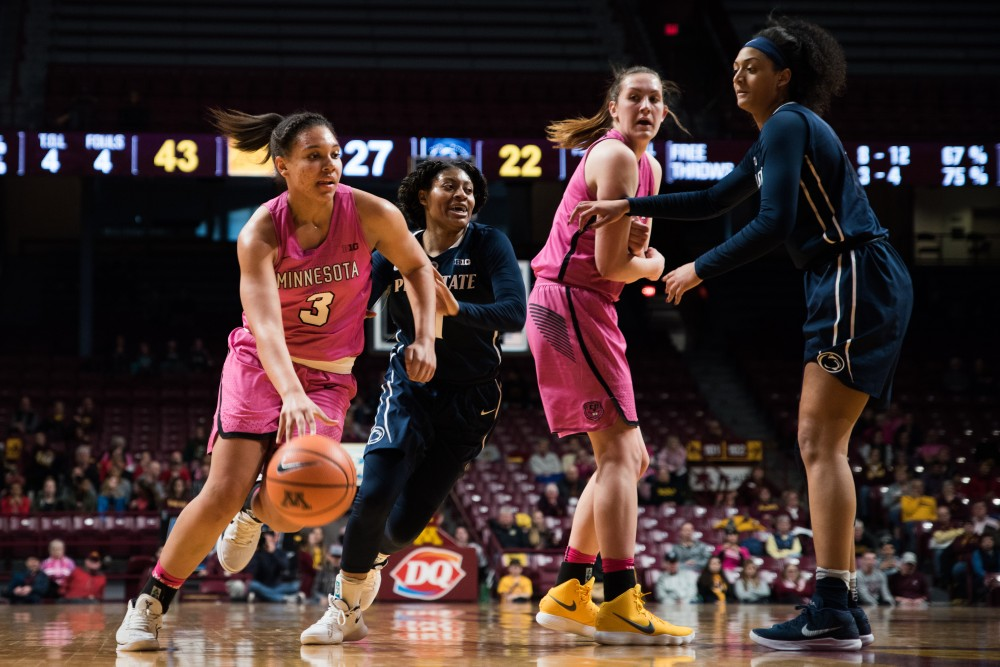 Gophers guard and forward Destiny Pitts dribbles the ball during Minnesota's game against Penn State on Sunday. The Gophers won 101-68.