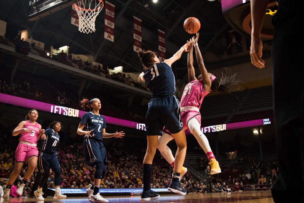 Gophers guard Jasmine Brunson goes up for a basket during Minnesota's game against Penn State on Sunday. The Gophers won 101-68.