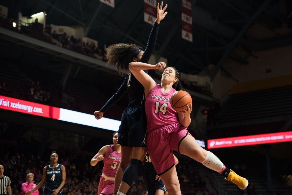 Gophers center Bryanna Fernstrom goes up for a basket during Minnesota's game against Penn State on Sunday. The Gophers won 101-68.