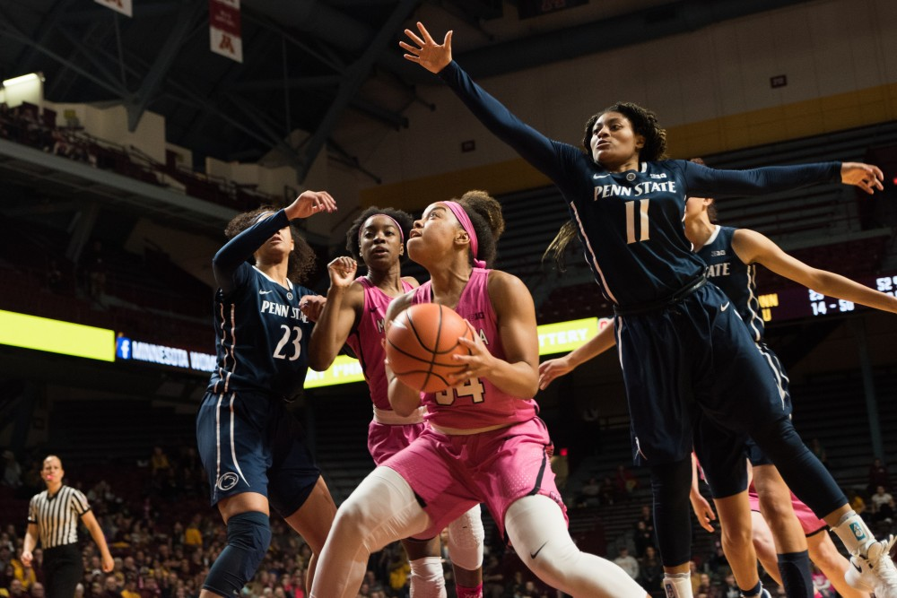 Gophers guard Gadiva Hubbard prepares to shoot during Minnesota's game against Penn State on Sunday. The Gophers won 101-68.