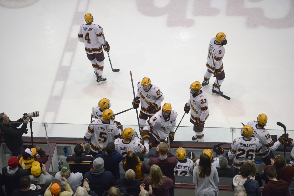 Gophers players rotate on and off the ice during a game at 3M at Mariucci Arena on Feb. 16.