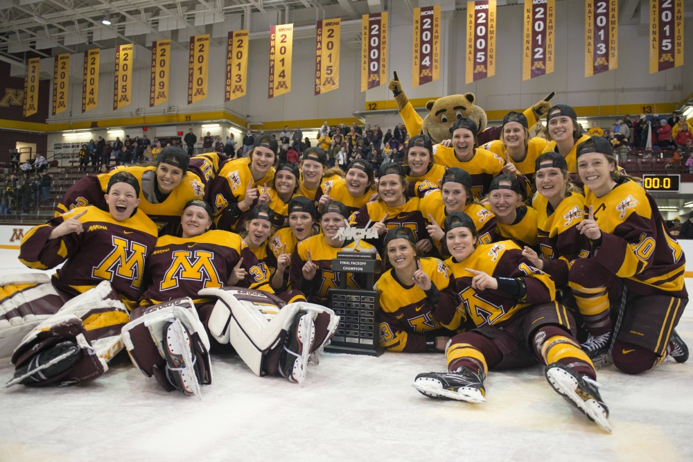 The Gophers celebrate their victory in the WCHA championship game against Wisconsin at Ridder Arena on Sunday, March 4.