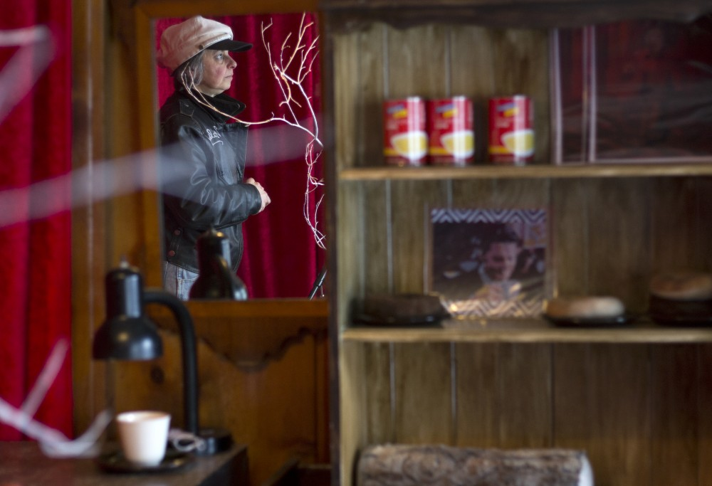 Artist and owner Nancy Waller poses for portraits at the Black Lodge gift shop on Tuesday, March 6. The shop serves as a hub for fans of David Lynchs Twin Peaks to meet and analyze the show over coffee and cherry pie.