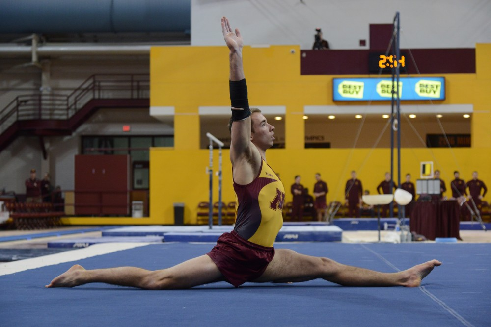 Joel Gagnon competes on the floor during the Gophers' meet against the Air Force on Jan. 21, 2017.