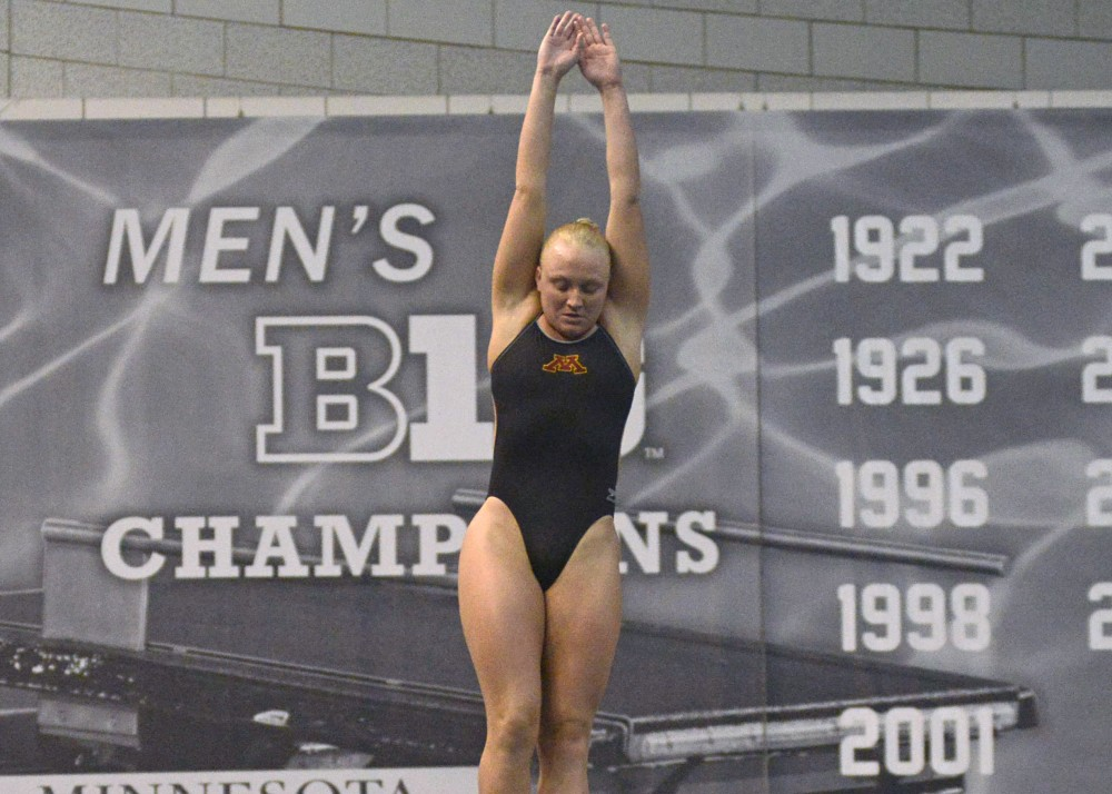 Sarah Bacon competes in the women's 3 meter diving competition at the Jean K. Freeman Aquatic Center on Saturday, Feb. 4, 2017.