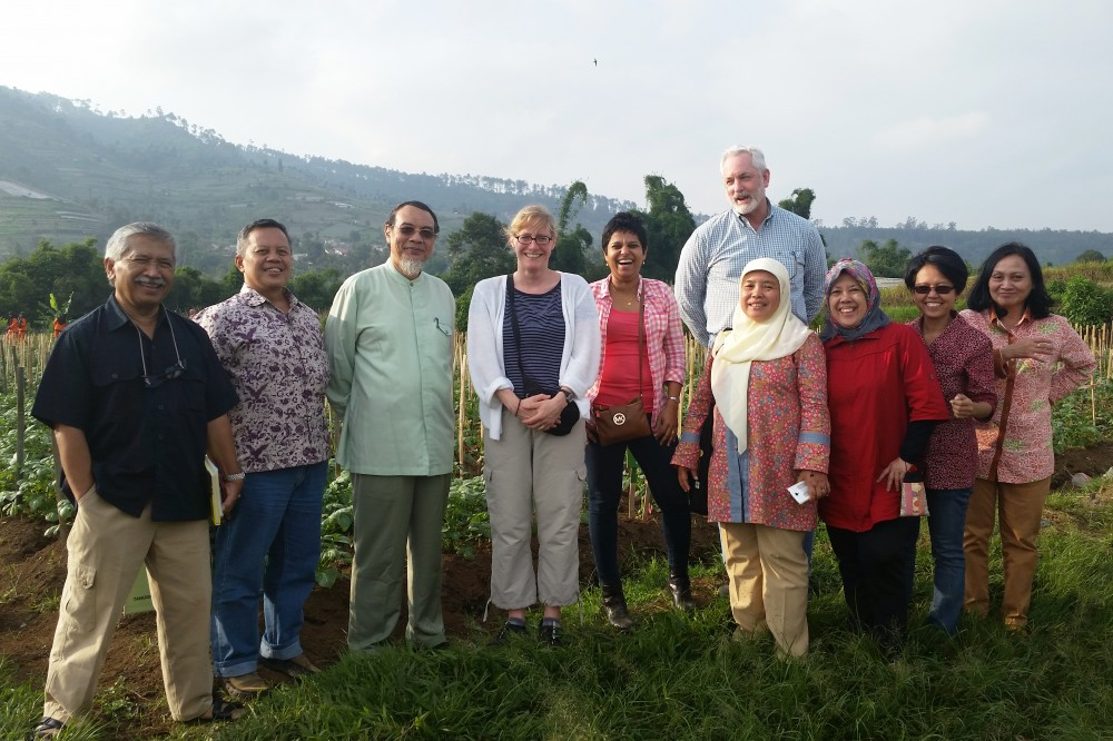 Dr. Hokanson with colleagues at a potato research field plot in Bandung, Indonesia.