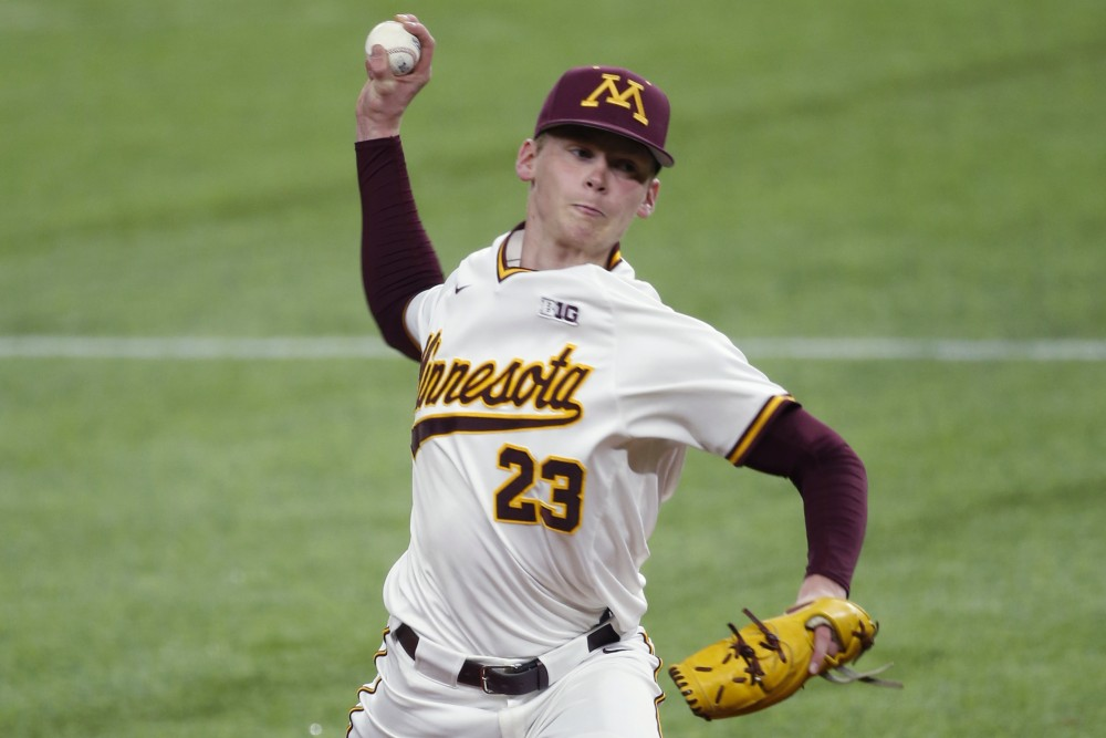 Freshman pitcher Max Meyer throws the ball during a game against Arizona at US Bank Stadium on March 2.