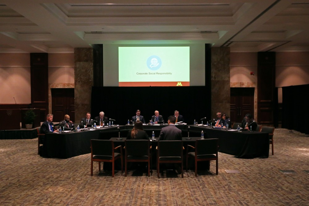 The Board of Regents listen to a report from student representatives on Friday, March 23 at the Siebens Building in Rochester.