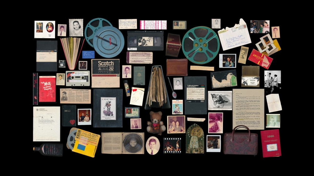 A grid of possessions of Miguel Dieppa, the subject of Cecilla Aldarondo's film