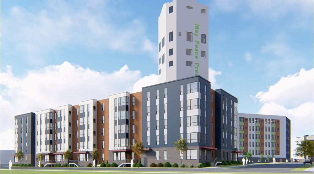 A rendering of the new development, near the Bunge tower and Van Cleave park.