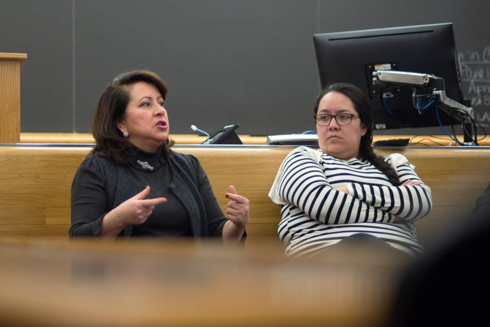 State sen. Patricia Torres Ray fields questions during a panel VISA held focusing on immigration discussing the TRUST act at the University of Minnesota Law School on Friday, March 30.