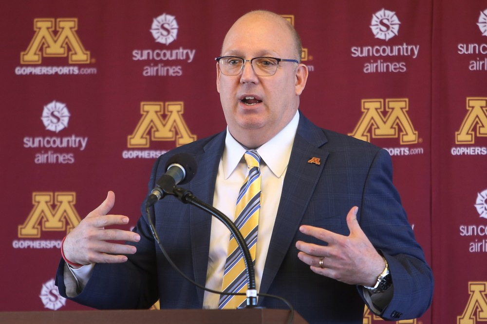 <p>The new University of Minnesota men's hockey coach, Bob Motzko, speaks at a press conference on Thursday, March 29.</p>