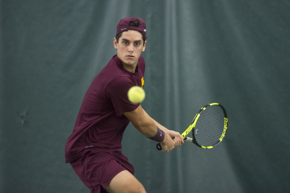 Senior Felix Corwin returns the ball during his singles match against the University of Pennsylvania at the Baseline Tennis Center on Sunday, Feb. 25.