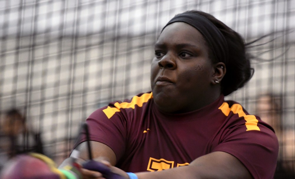 Senior Kaitlyn Long competes in the throwing event during a meet during the Big Ten Indoor Track and Field Championship on Feb. 24, 2018.