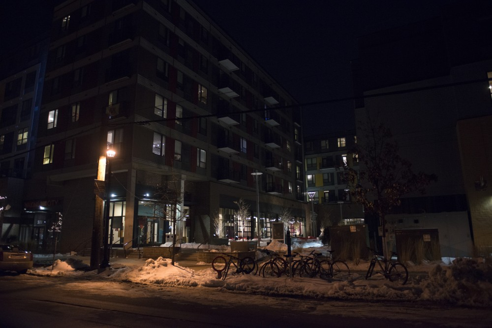 <p>The Marshall apartment complex in Dinkytown as seen on April 4, 2018. Mitchell Hoenig, 20, was taken from The Marshall to Hennepin County Medical Center on Feb. 23 and later died on Feb. 25.</p>