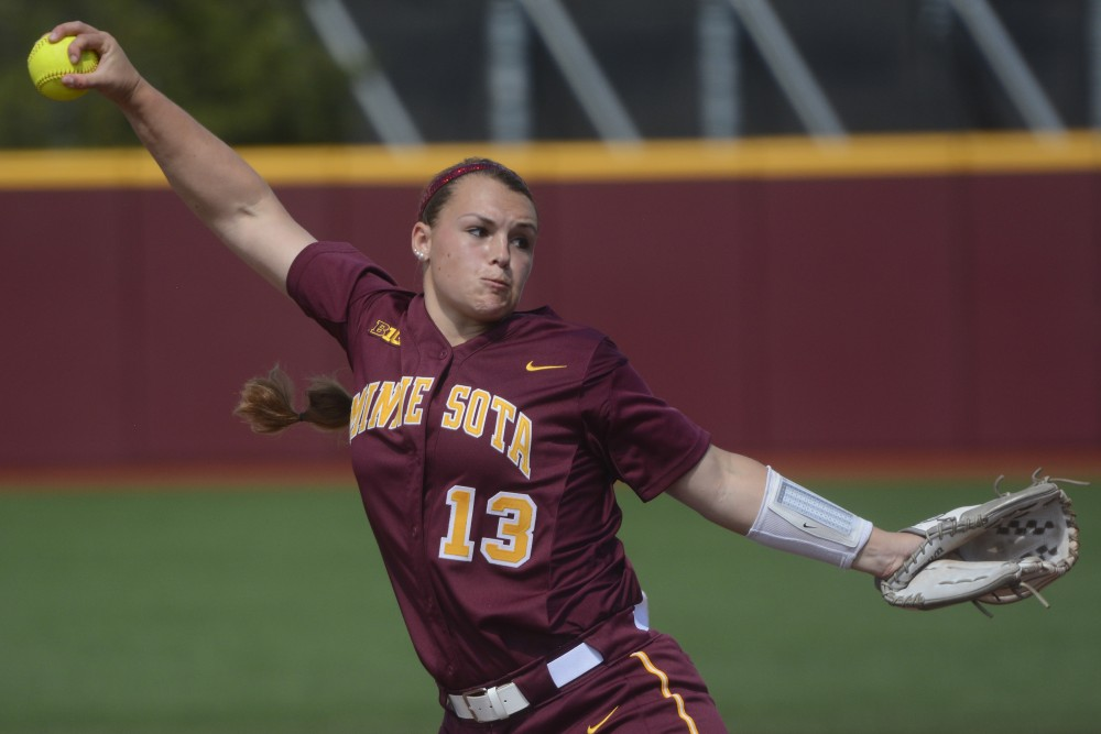 Amber Fiser pitches against Northwestern on April 15, 2017 at Jane Sage Cowles Stadium.