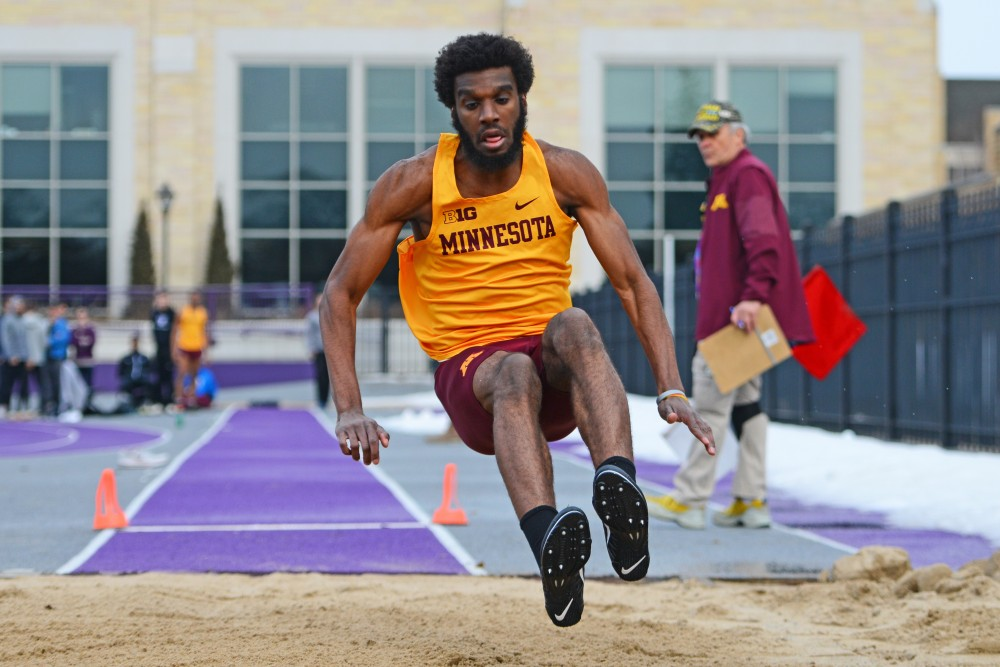 Redshirt Freshman Mason Roomes competes in the long jump on April 12 at St. Thomas.