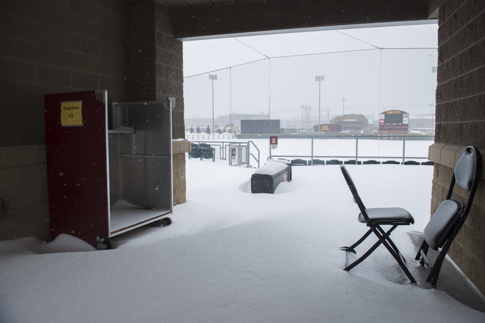 Snow covers Siebert Field during a blizzard on Sunday, April 15.