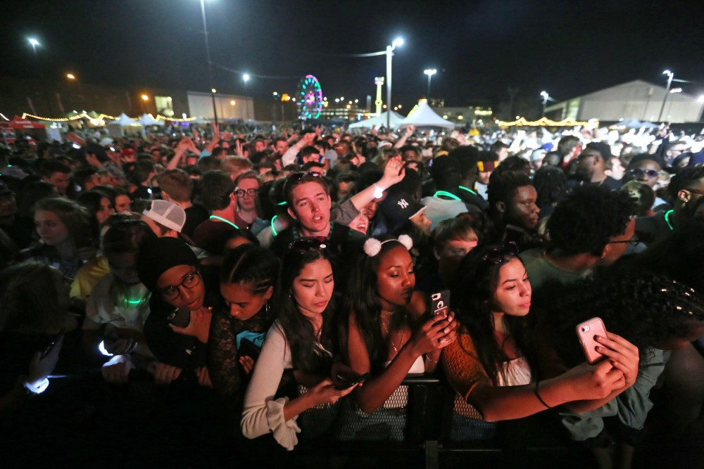 The crowd waits for Lil Yachty at Spring Jam on Saturday, April 21, 2018 in Minneapolis.