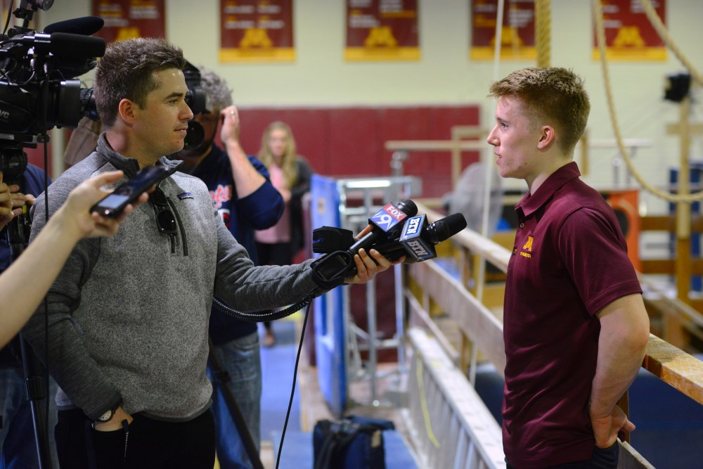 Shane Wiskus speaks to media during the press conference in Cooke Hall on Sunday, April 22, 2018.