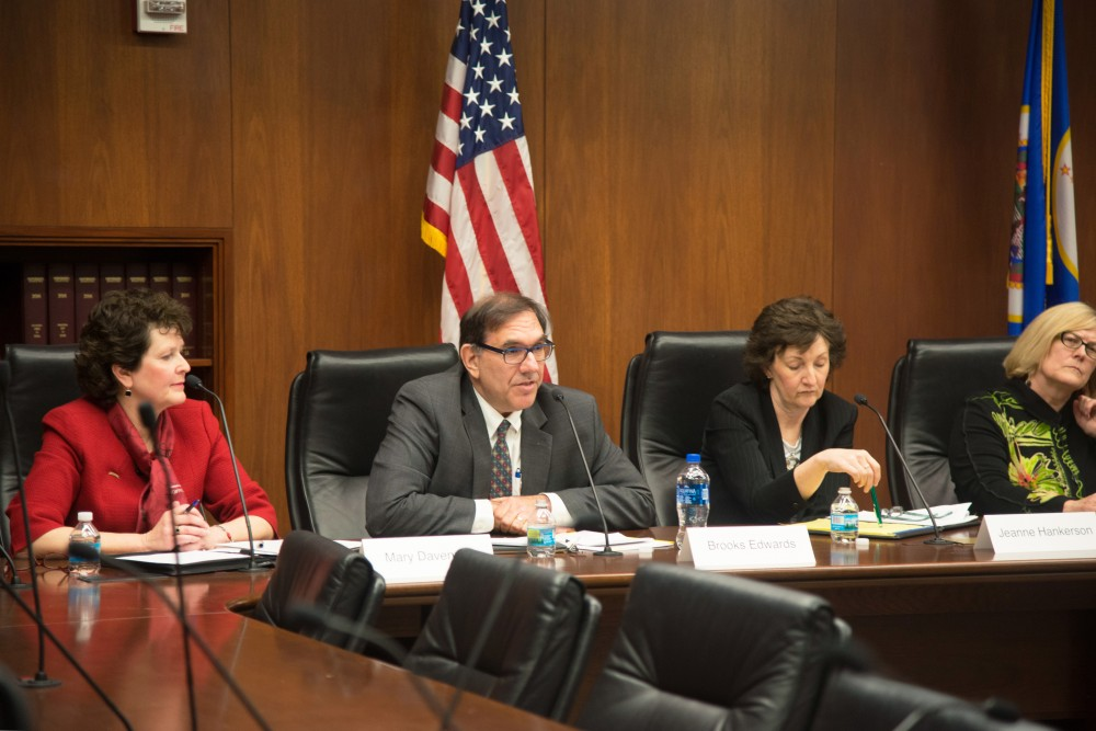 A panel of Board of Regents candidates answer audience questions during the 2018 Regent Candidate Forum at the State Office Building on Wednesday, April 25.
