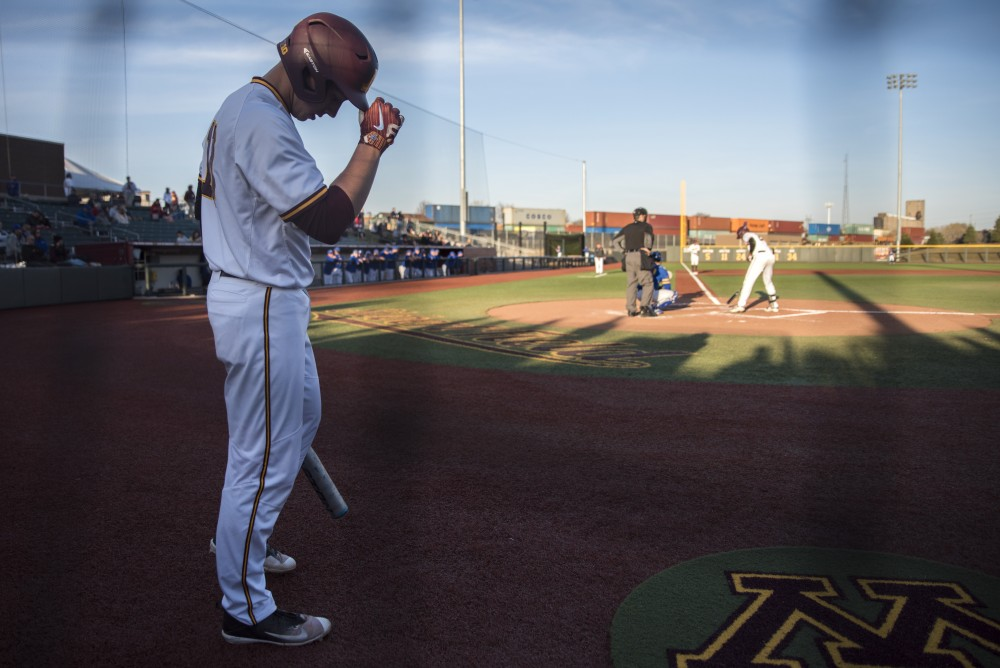 Cole McDevitt practices swings before his at-bat during a game against South Dakota State at Siebert Field on Wednesday.