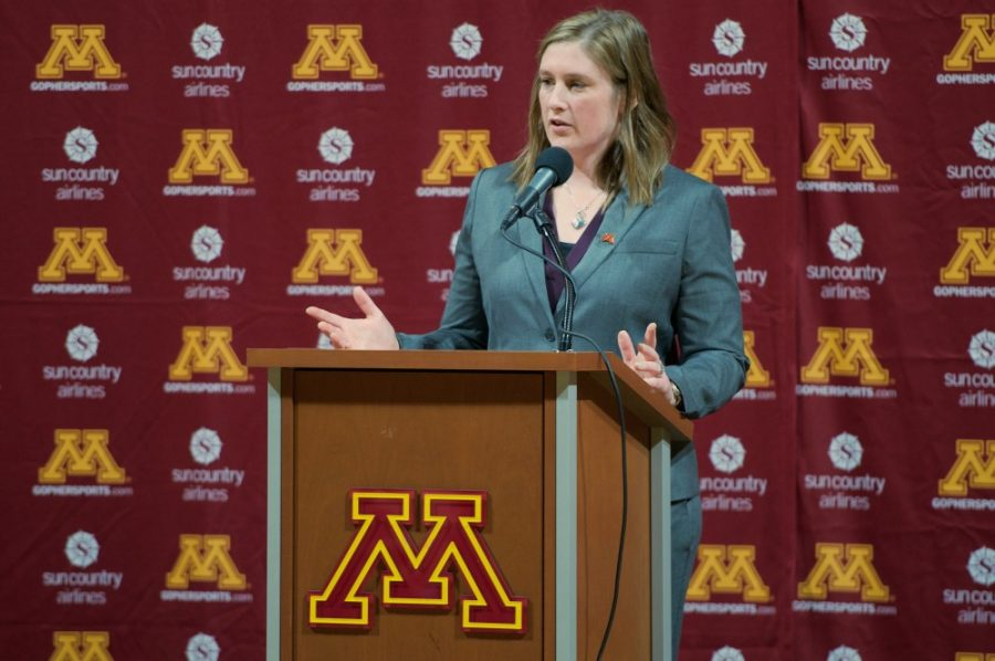 New+Gophers+women%E2%80%99s+basketball+head+coach+Lindsay+Whalen+speaks+to+the+media+during+a+press+conference+on+Friday%2C+April+13.
