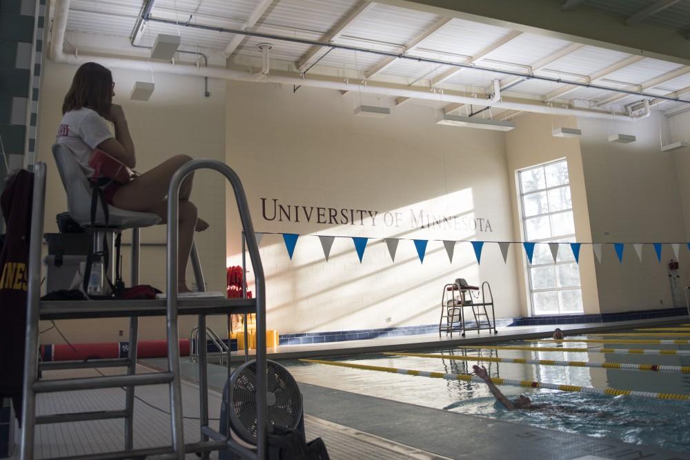 UMN student Darian Leddy lifeguards at the St. Paul Gymnasium.