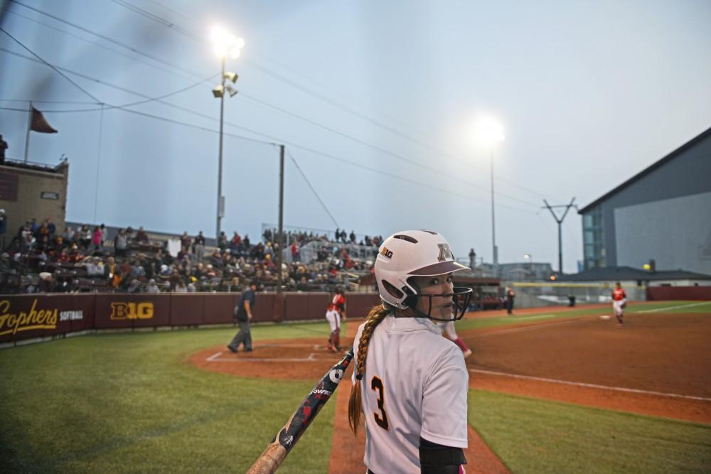 Sophomore MaKenna Partain gets ready to bat against Nebraska at Jane Sage Cowles Stadium.