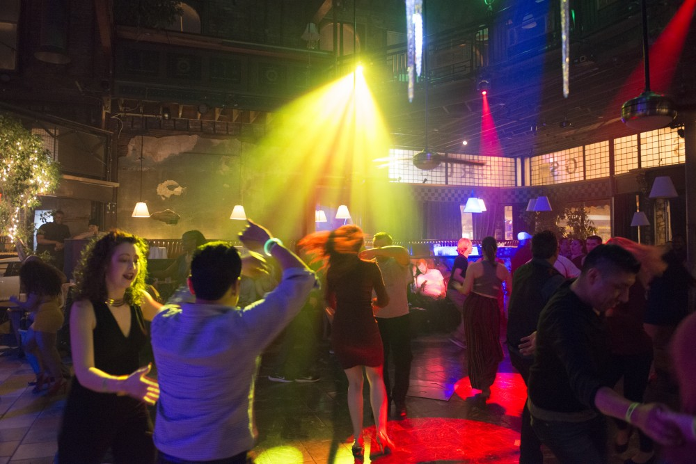 A crowd dances inside Loring Bar & Restaurant in Dinkytown.