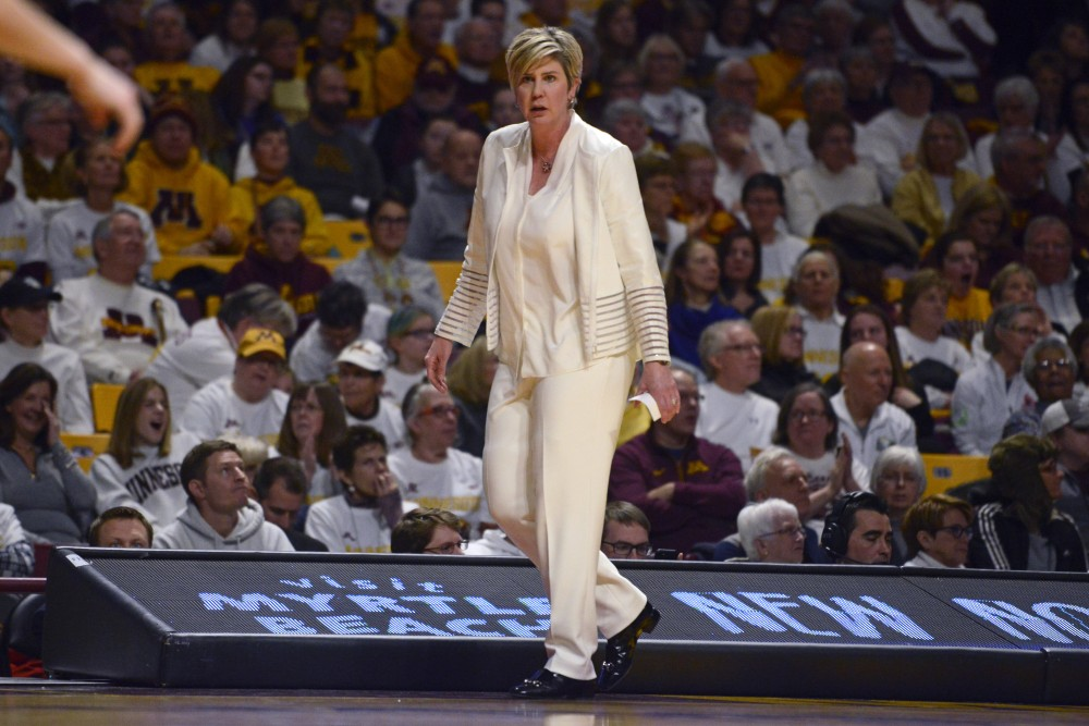 Head coach Marlene Stollings during a game against Maryland at Williams Arena on Sunday, Feb. 18.