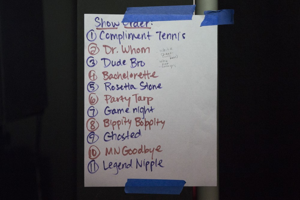 Ladybrain Sketch Comedy's skit list is hung up at Strike Theater on Monday, June 4 in Northeast Minneapolis.