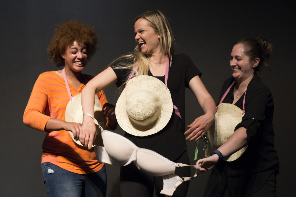Members of Ladybrain Sketch Comedy perform a sketch about the male gaze and the