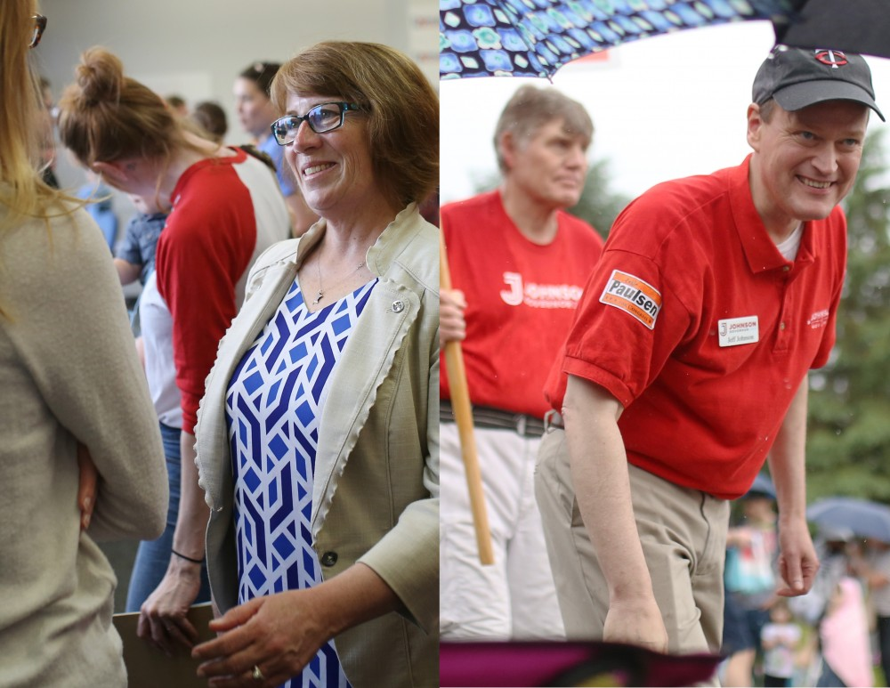 The DFL and GOP-endorsed candidates Erin Murphy, left, and Jeff Johnson attend events to kick of their campaigns for Minnesota Governor.