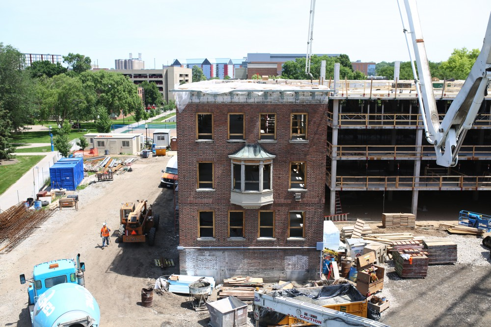 A view from the top floor of Pioneer Hall during renovation on Thursday, June 14.