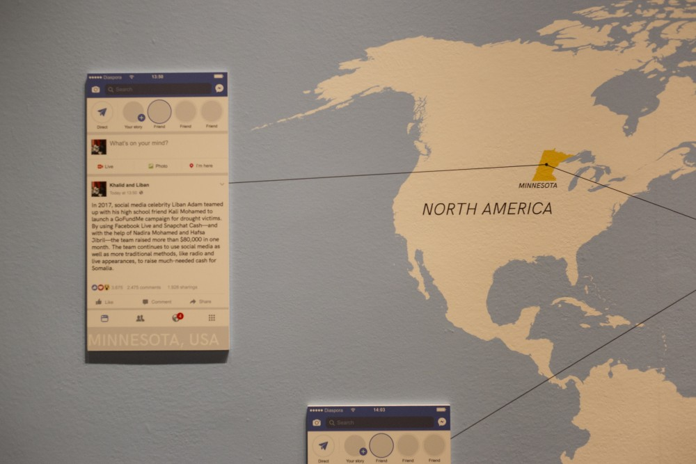 A map explains the influence of social media on communication between Somali people in different parts of the world at the History Center's new