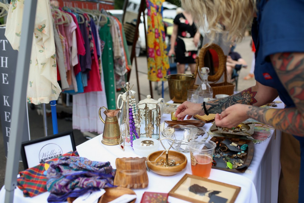 A customer shops at the launch of the Minneapolis Vintage Market on Sunday, June 24.