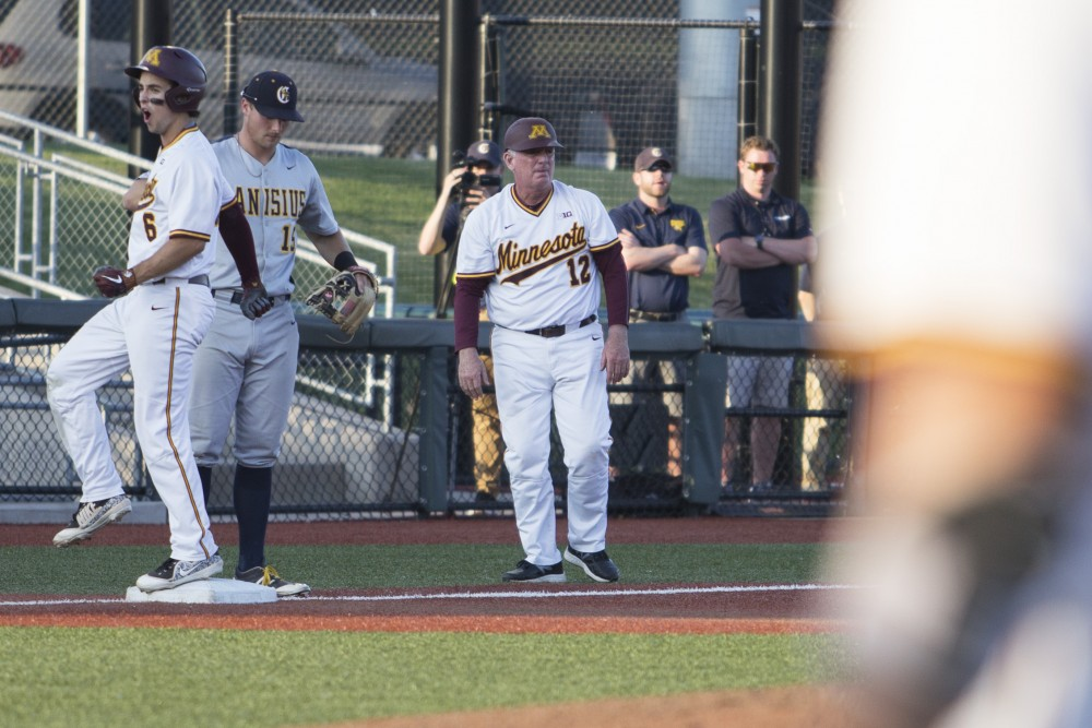 Outfielder Terrin Vavra cheers after making it to third base during the game against Canisius on Friday, June 1, 2018. The Gophers won 10-1.